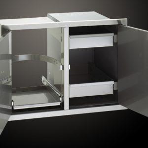 Модул за Вграждане с Врата с Поставка за Кош за Боклук и Врата с 2 Скрити Чекмеджета