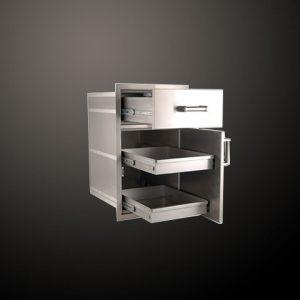 Модул за Вграждане с Чекмедже и Врата с 2 Скрити Чекмеджета /Flush Mounted Large Pantry Door with Triple Drawers